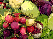 Meals Digital Art Posters - Cabbages and Radishes Poster by Jean Hall