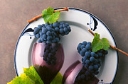 Clusters Of Grapes Prints - Cabernet Grapes and Wine Glasses Print by Craig Lovell