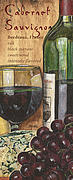 Red Wine Bottle Painting Posters - Cabernet Sauvignon Poster by Debbie DeWitt