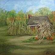 Pumpkins Paintings - Cabin Amid the Corn by Brenda Mullaney
