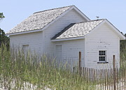 Sand Fences Posters - Cabin at Cape Lookout 2 Poster by Cathy Lindsey