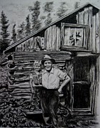Cabin Drawings - Cabin at Little John by Joan Pye