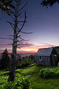 Mountaintop. Trees Prints - Cabin at the Top Print by Debra and Dave Vanderlaan