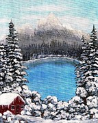 Lakeside Cabin Posters - Cabin by the Lake - Winter Poster by Barbara Griffin