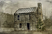 Old Log Cabin Photographs Photos - Cabin By The Track Series II by Kathy Jennings