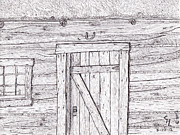 Log Cabin Drawings Prints - Cabin Print by Clark Letellier