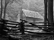 Julie Dant Black And White Photographs Photo Framed Prints - Cabin in the Fog Framed Print by Julie Dant