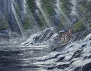 Waterfalls Paintings - Cabin in the mist by Dj Khamis