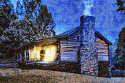 Log Cabin Art Digital Art Posters - Cabin in the Mountains Poster by Barry Jones