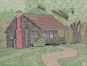 Shed Drawings Framed Prints - Cabin in the Woods Framed Print by Calvert Koerber