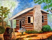Vines Paintings - Cabin in the Woods by Janis  Tafoya