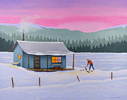 Cabin Frozen Lake Snow Landscape Bc Mountains Wood Chopping Forest Trees Woodsmansnowscape Paintings - Cabin on a frozen lake by Gary Giacomelli