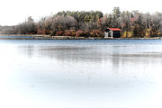 Cabin Framed Prints - Cabin on a Lake Framed Print by Olivier Le Queinec