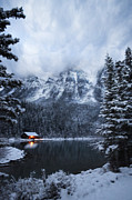 Mountain Cabin Framed Prints - Cabin on the Lake Framed Print by Andrea Hazel Ihlefeld