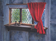 Cabin Window Painting Framed Prints - Cabin Window Framed Print by Richard Ginnett