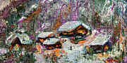 Winter Scene Mixed Media Metal Prints - Cabins in the Snow Modern Expressionism Metal Print by Ginette Callaway