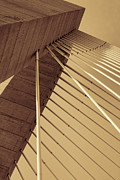 Sullivan Posters - Cable Bridge Geometric Abstract in Sepia Poster by Kathy Clark