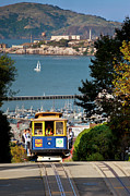 Alcatraz Prison Framed Prints - Cable Car in San Francisco Framed Print by Brian Jannsen
