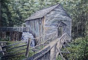 Grist Mill Paintings - Cables Mill by Russell Fox