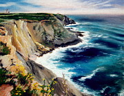 Atlantic Ocean Pastels Metal Prints - Cabo da Roca on the Westernmost Point of Portugal Metal Print by Nancy Poes