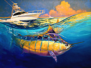 Cabo Forty Four Contemporary Marlin And Cabo Yacht Art Print by Mike Savlen