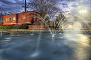 Park Benches Framed Prints - Caboose and Fountain at Dusk Framed Print by Jason Politte