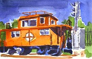Plein Air Metal Prints - Caboose with Silver Signal Metal Print by Kip DeVore