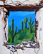 Landscape Paints Mixed Media Posters - Cacti from window Poster by Ariela Boronat