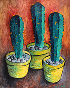Potted Plants Posters - Cactus Abstract #2 Poster by Michelle Boudreaux
