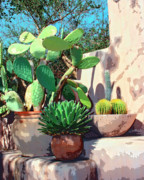 Potted Plants Prints - CACTUS CORNER Palm Springs Print by William Dey