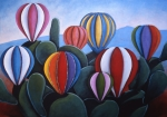 Hot Air Balloons Framed Prints - Cactus Fiesta Framed Print by Gayle Faucette Wisbon