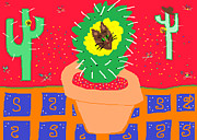 Potted Drawings Metal Prints - Cactus Flower Metal Print by Anita Dale Livaditis