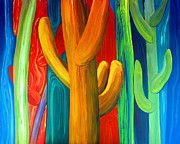 Southern Indiana Painting Posters - Cactus Forest Poster by Eric Dru Stephenz Drury