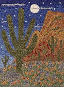 Desert Tapestries - Textiles - Cactus In The Moonlight by Jan Schlieper