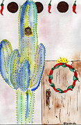 Entrance Door Mixed Media Posters - Cactus Owl Wreath Poster by Christy Woodland