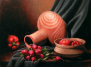 Pottery Paintings - Caddo Jar - Red Study by Timothy Jones