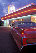 Pink Cadillac Posters - Caddy at Diner Poster by Christian Heeb