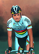 Mountain Road Painting Posters - Cadel Evans Poster by Paul  Meijering