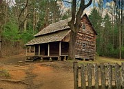 Old Cabins Prints - Cades Cove Cabin Print by Janice Spivey