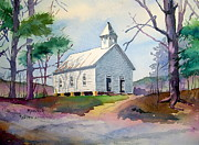 Gatlinburg Painting Framed Prints - Cades Cove Church Framed Print by Spencer Meagher