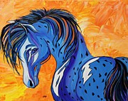 Colorado Contemporary Western Art Gallery Prints - CADET the Blue Horse Print by Janice Rae Pariza