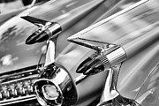 Chrome Prints - Cadillac Bullet Tail lights Monochrome Print by Tim Gainey