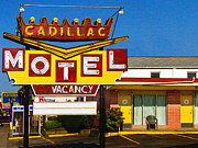 Vintage Sign Posters - Cadillac Motel 20130307 Poster by Wingsdomain Art and Photography