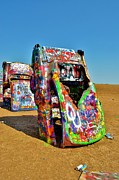 Spray Paint Cans Photos - Cadillac Ranch by Sara Edens