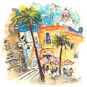 Town Square Drawings Prints - Cadiz Spain 04 Print by Miki De Goodaboom