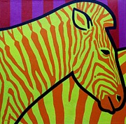 Contemporary Animal  Acrylic Paintings - Cadmium Zebra by John  Nolan
