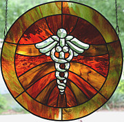 Vibrant Glass Art Posters - Caduceus Tribute Poster by Marilynn Brandriff