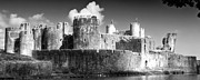 Castle Photos - Caerphilly Castle 8 Monochrome by Steve Purnell