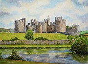 Property Painting Prints - Caerphilly Castle Print by Andrew Read