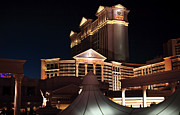 Las Vegas Artist Framed Prints - Caesars at Night Framed Print by John Rizzuto